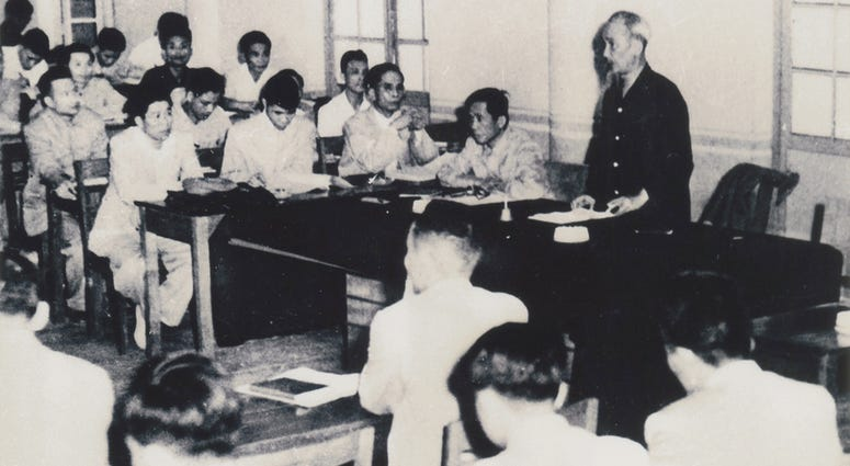 President Ho Chi Minh in conference with Communist comrades, 1959