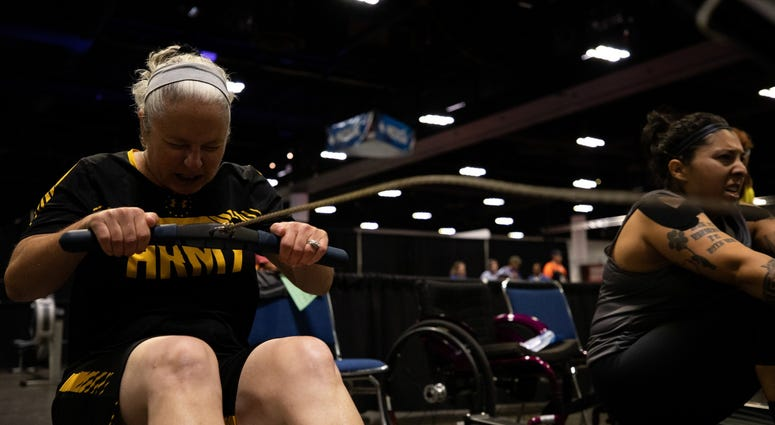 U.S. Army 1st Sgt. Cinnamon Wright competes in the rowing competion