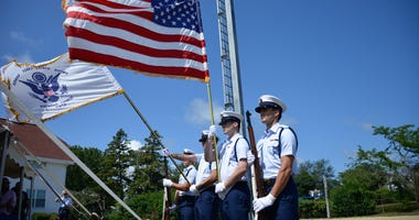 Coast Guard Base Cape Cod Honor Guard presents the colors