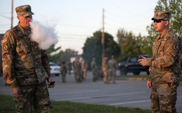 Soldiers at Fort Knox puff on vaporizers