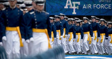Air Force Cadets arrive at the 2019 United States Air Force Academy Graduation Ceremony at Falcon Stadium at the United States Air Force Academy