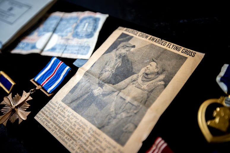 a newspaper article announcing the awarding of the Flying Cross to Morry Crow is displayed at Good Samaritan Society at St. Martin Village in Rapid City, S.D.