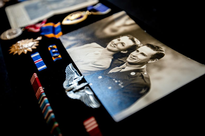 A photo of Morry Crow and his wife is displayed at Good Samaritan Society at St. Martin Village in Rapid City, S.D