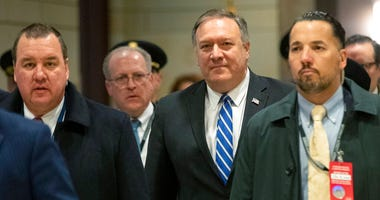Secretary of State Mike Pompeo, walks towards the Senate after briefing members of Congress on last week's targeted killing of Soleimani