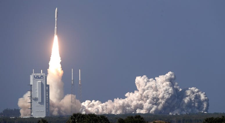A United Launch Alliance Atlas V rocket lifts off from launch complex 41 at the Cape Canaveral Air Force Station with a payload of a high frequency satellite Thursday, March 26, 2020, in Cape Canaveral, Fla.