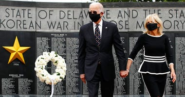Democratic presidential candidate, former Vice President Joe Biden and Jill Biden, arrive to lay a wreath at the Delaware Memorial Bridge Veterans Memorial Park, Monday, May 25, 2020