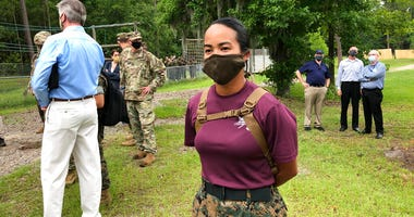 Staff Sgt. Katheryn Hunter, a Marine drill instructor at Parris Island Recruit Depot in South Carolina