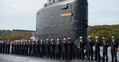 This Oct. 29, 2016 file photo shows the commissioning of the attack submarine USS Illinois