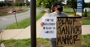 Johanna Fisher protests outside the Kansas City Veterans Affairs Medical Center