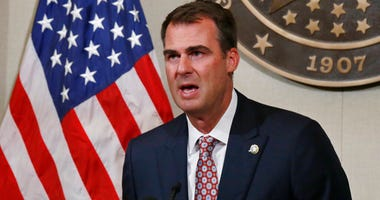 In this July 9, 2020, file photo Oklahoma Gov. Kevin Stitt speaks during a news conference in Oklahoma City