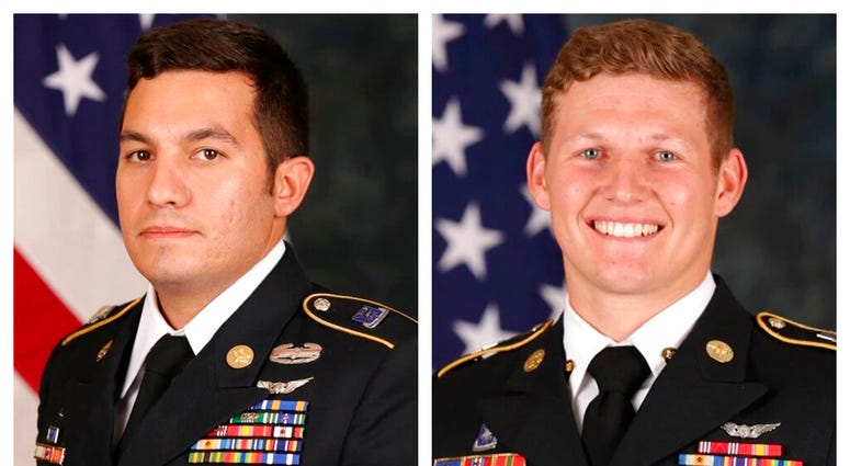 Staff Sgt. Vincent P. Marketta, left, and Sgt. Tyler M. Shelton, both with the 160th Special Operations Aviation Regiment (Airborne)