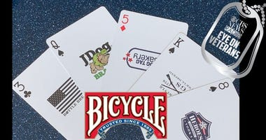 Bicycle Playing Cards recently released the Frontlnie Leaders deck, whic display great vetrean owned businesses on every card.