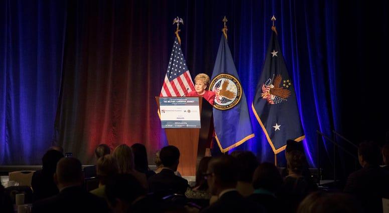 Former Senator Elizabeth Dole, founder of the Elizabeth Dole Foundation, speaks at the 2nd Annual National Convening: The Military Caregiver Journey in Washington, D.C. Nov. 13, 2017.