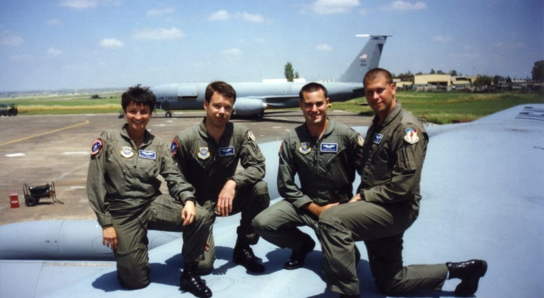Graciela and crew on KC-135R wing, Incirlik, Turkey