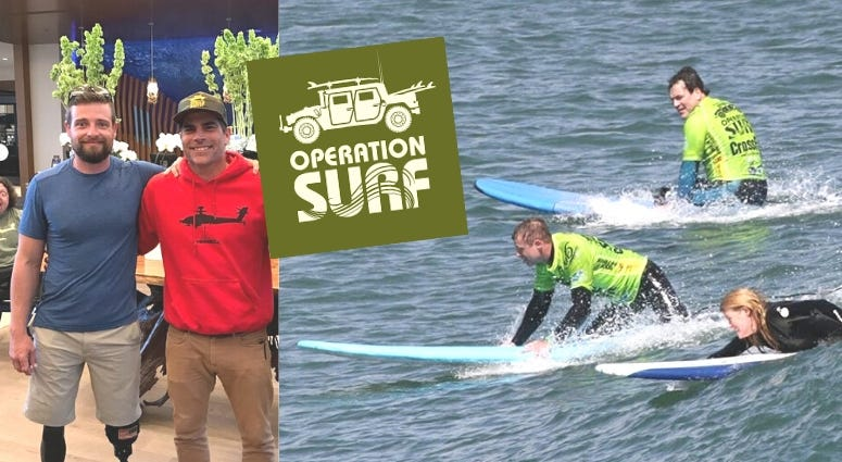 Army veteran Caleb brewer and Pro Surfer Danny Nichols at Operation Surf in California