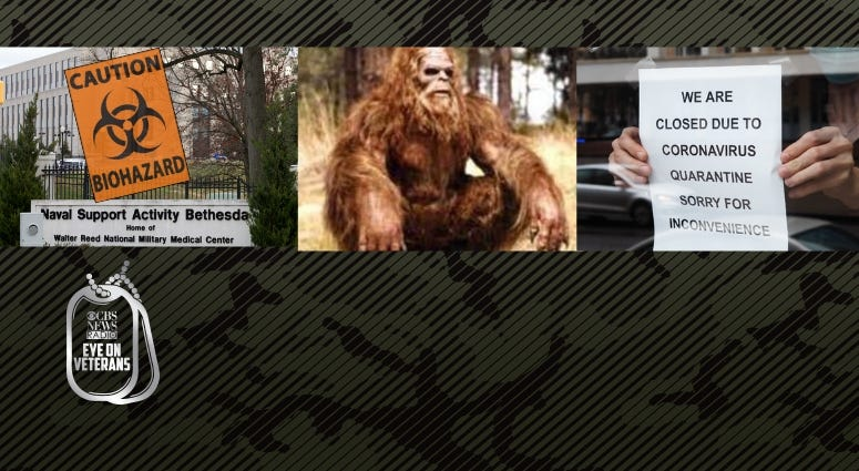 CBS Eye on Veterans interviews a nurse about COVID-19, the SBA and a Marine Corps veteran who photographed what many believe is Bigfoot in West Virginia
