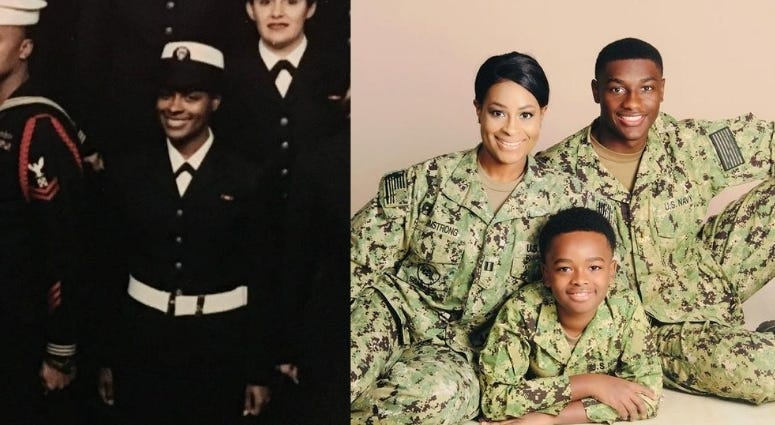 Lt Yvonne Armstrong, as an enlisted Sailor in Boot Camp and a Navy Lt, with her two sons