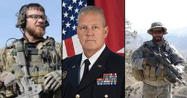 Sgt. First Class Joshua Hass, Brigadier Gen. Mike Heston and Staff Sgt. Ronald Shurer II.