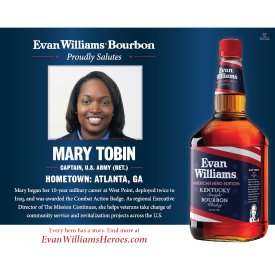 Army veteran (Ret.) Capt. Mary Tobin is an Evan Williams Bourbon American Made Hero award recipient