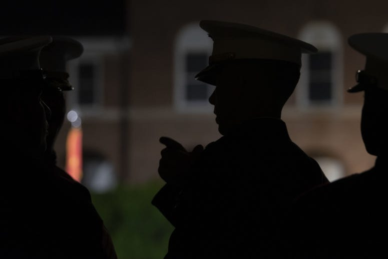 The United States Marine Corps holds an Evening Parade at Marine Barracks, Washington, D.C., May 10, 2019