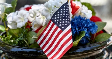 Flag in flower pot