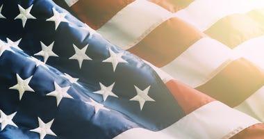 Closeup ruffled American flag