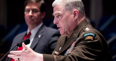 Chairman of the Joint Chiefs of Staff General Mark Milley (R) and US Secretary of Defense Mark Esper (L) testify before the US House Armed Services Committee hearing on 'Department of Defense Authorities and Roles Related to Civilian Law Enforcement.'