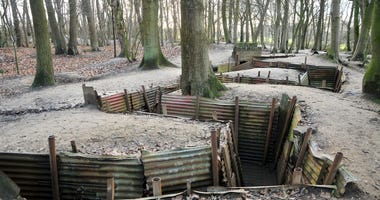 Elevated view of the trench system at Sanctuary Wood, east of Ypres in Belgium