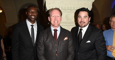 Terrell Owens, Robert O'Neill, and Dean Cain attend the salute to heroes service gala to benefit The National Foundation For Military Family Support at The Majestic Downtown on March 14, 2015 in Los Angeles, California.