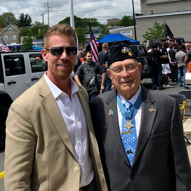 "Scott Huesing and Medal of Honor recipient, Herschel ""Woody"" Williams"