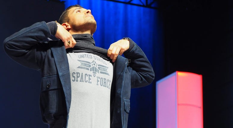 Wilmer Valderrama displays his Space Force shirt