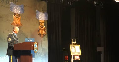 Former Staff Sgt. David Bellavia, Medal of Honor recipient, speaks at Hall of Heroes induction