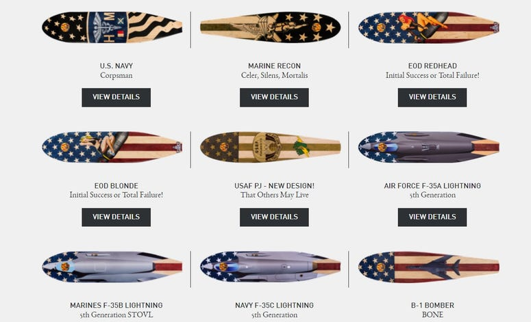 KOTA Longboards offers military designs and custom ordered skateboards