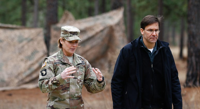 Lt. Gen. Lauran Richardson with Secretary of the Army at Fort Bragg, North Carolina