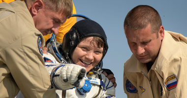 U.S. Army astronaut Lt. Col. Anne McClain exits the Soyuz MS-11 spacecraft