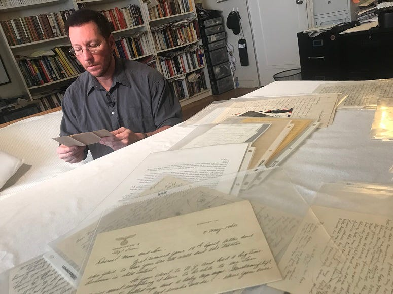 Andrew Carroll, Center for American War Letters, reads through war letters that are preserved forever in their collection.