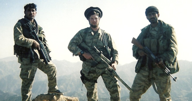Jack Murphy with Afghan para-military soldiers
