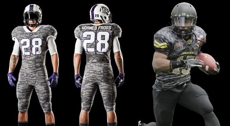 TCU and Oregon both have worn camo style uniforms