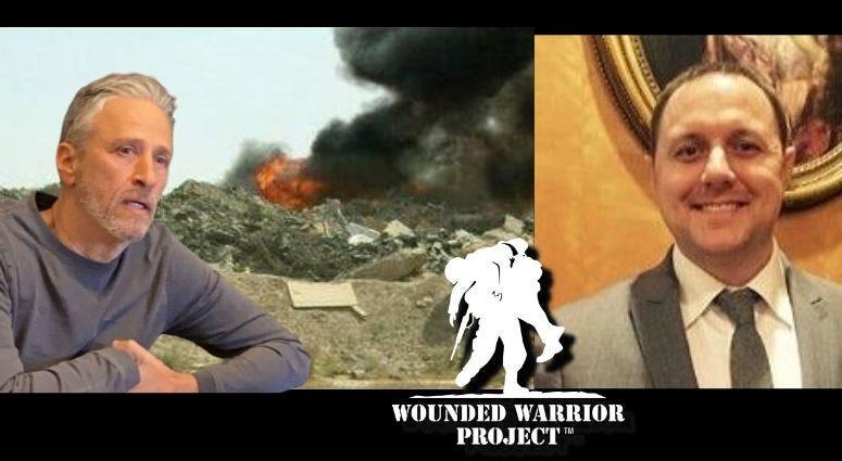 Derek Fronabarger, Wounded Warrior Project's Legislative Director and Jon Stewart.