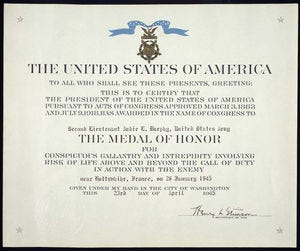 Audie Murphy's Medal of Honor Citation