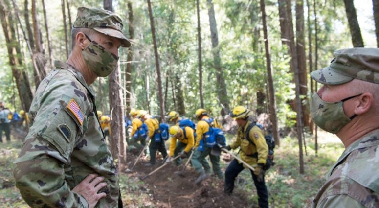 Rescue missions and support to civil authorities fighting wildfires were the focuses of West Coast troop visits by the National Guard's highest-ranking general and his senior enlisted advisor this week.