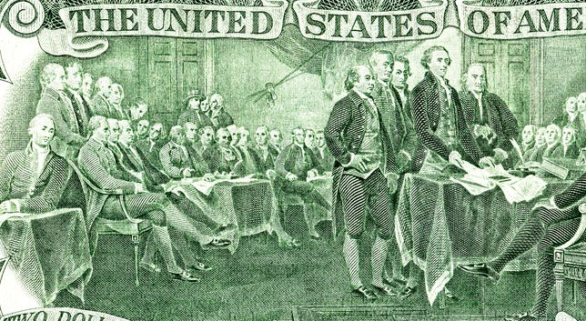 Signing declaration of independence from the two dollar banknote, detail