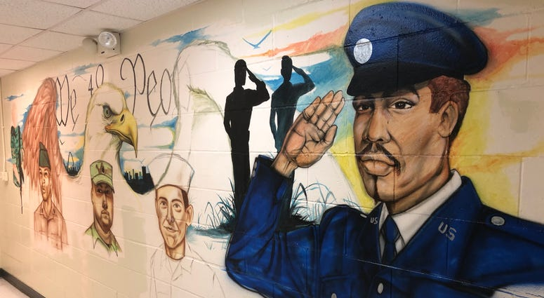 A mural painted by homeless veterans at The Joseph Center in East Saint Louis, Illinois.