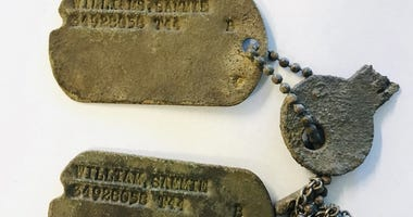 Local German Simon Krieger-Pleus discovered a pair of World War II U.S. military identification tags during a nature walk