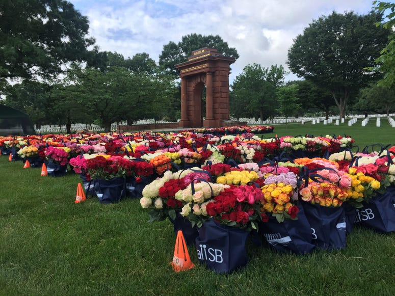 Memorial Day Flowers ready to be placed on graves at Arlington National Cemetery