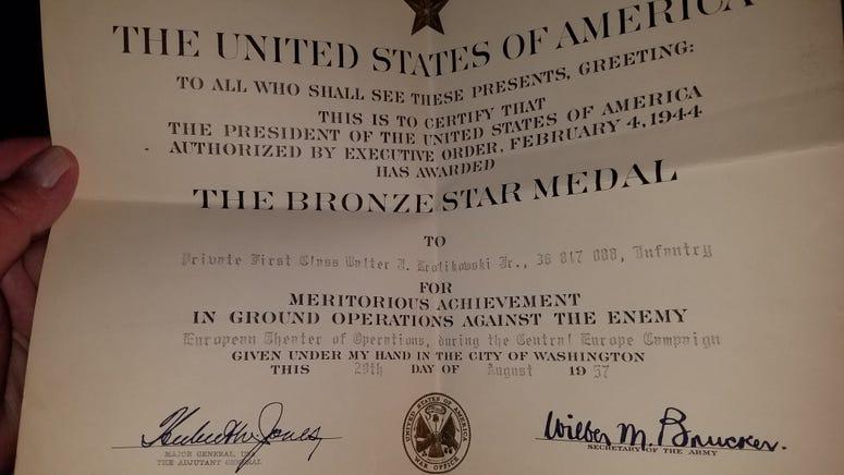Bronze Star citation