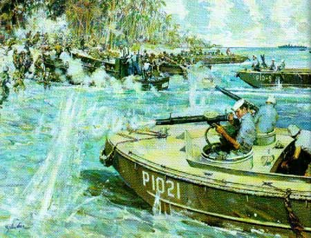 A painting of Douglas Munro and his heroic actions that saved Marines at Guadalcanal