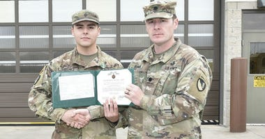 Spc. David Sanchez-Diaz, 509th Clearance Company team leader, was awarded an Army Commendation Medal Feb. 3 by Lt. Col. Brandon Bowman, 5th Engineer Battalion commander, for saving a life.