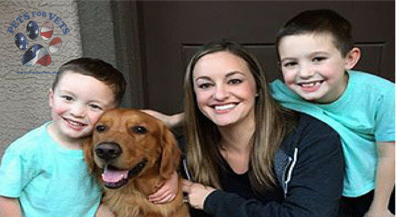 A veteran family with their dog, matched up through Pets For Vets