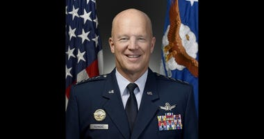 """Official portrait of Air Force Gen. John W. """"Jay"""" Raymond, for his position as Air Force Space Command commander, Peterson Air Force Base, Colo., taken Oct. 14, 2016."""